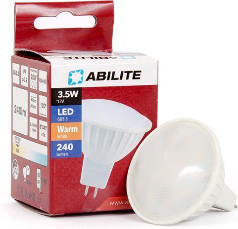 Abilite Żarówka LED, SMDS-2835, GU5.3, 3.5W, Szybka, 15LED, B. ciepły, MR16 4W/12V 300LM 120° (spotlight) (5901583545030) 1