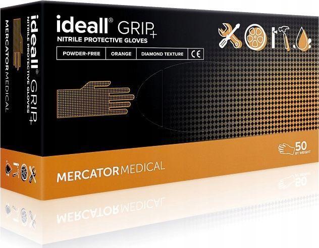 Mercator Medical rękawice ochronne ideall grip + orange roz. L 50szt. RD30234004 1