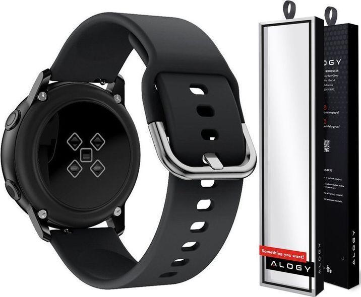 Alogy Pasek do Samsung Galaxy Watch Active 2 Alogy soft gumowy Czarny uniwersalny 1