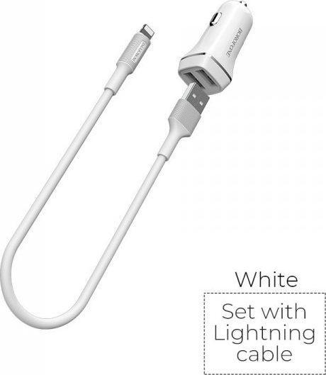 Ładowarka Borofone Borofone ładowarka samochodowa 2x USB kabel Lightning w zestawie, biały ID produktu: 6640077