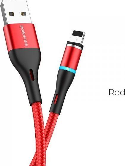 Kabel USB Borofone Borofone - kabel ładowania USB-A do Lightning z końcówką magnetyczną i podświetleniem, czerwony 1