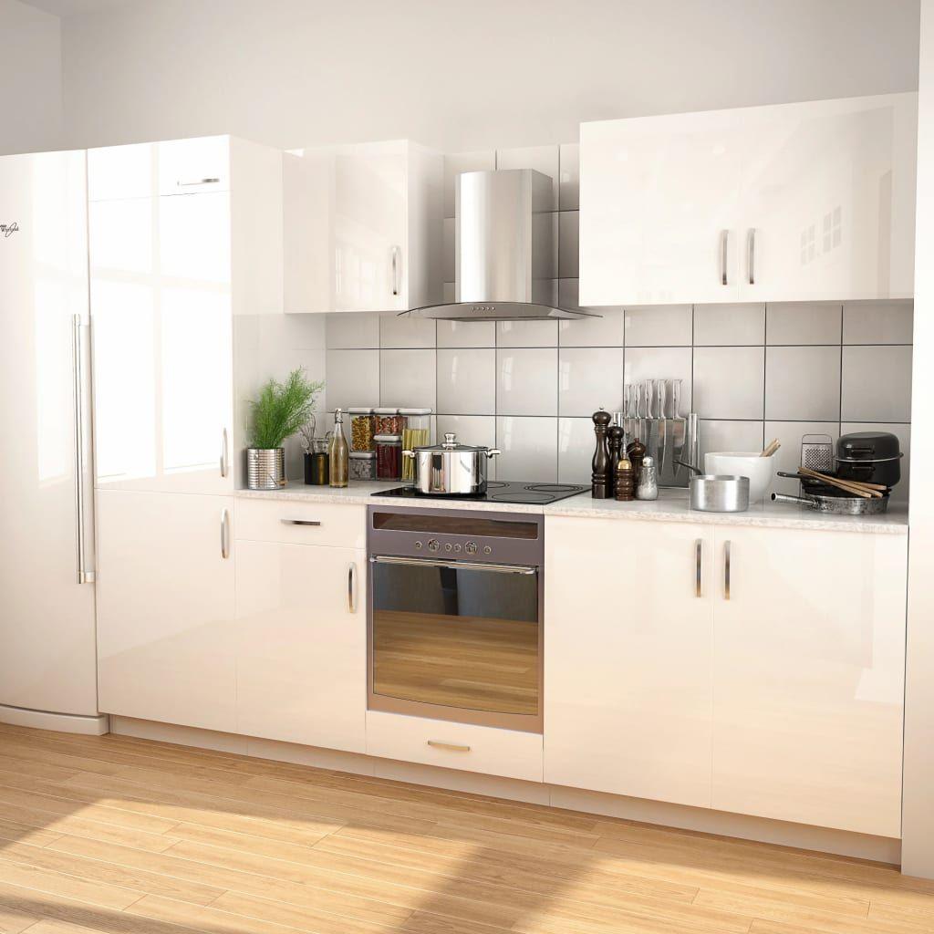 vidaXL Zestaw mebli kuchennych z okapem, 7 cz., wysoki połysk, biały ID produktu: 6647830