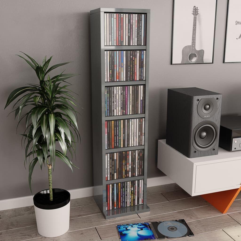 vidaXL Szafka na CD, wysoki połysk, szara, 21x16x88 cm, płyta wiórowa 1