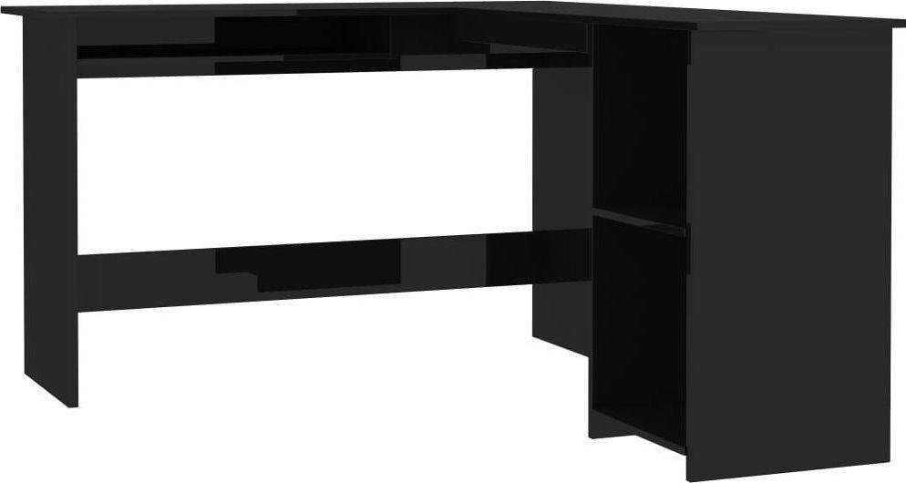 Biurko vidaXL z 2 otwartymi półkami wysoki połysk 120x140x75 1
