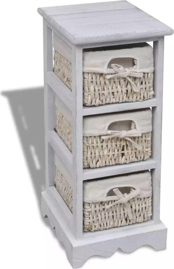 vidaXL Drewniana szafka z 3 wyplatanymi koszykami, biała 1