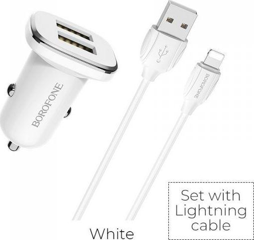 Ładowarka Borofone Borofone ładowarka samochodowa 2x USB kabel Lightning w zestawie, biały ID produktu: 6654081