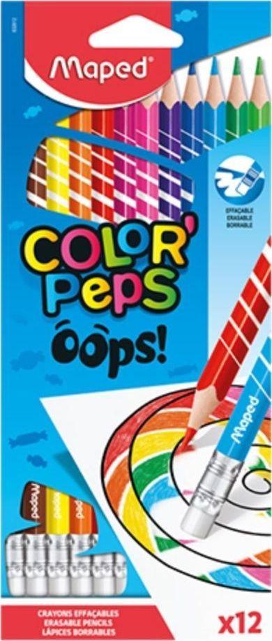 Maped Kredki Colorpeps Oops trójkątne z gumką 12 kol 1
