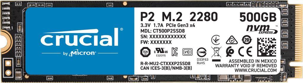 Dysk SSD Crucial P2 500 GB M.2 2280 PCI-E x4 Gen3 NVMe (CT500P2SSD8) 1