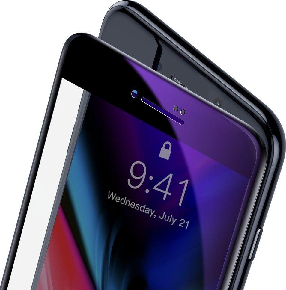 Baseus Baseus szkło na cały ekran Full Screen z ramką 0.23mm 9H Anti-bluelight iPhone 8 Plus / iPhone 7 Plus czarny (SGAPIPH8P-HPE01) uniwersalny 1