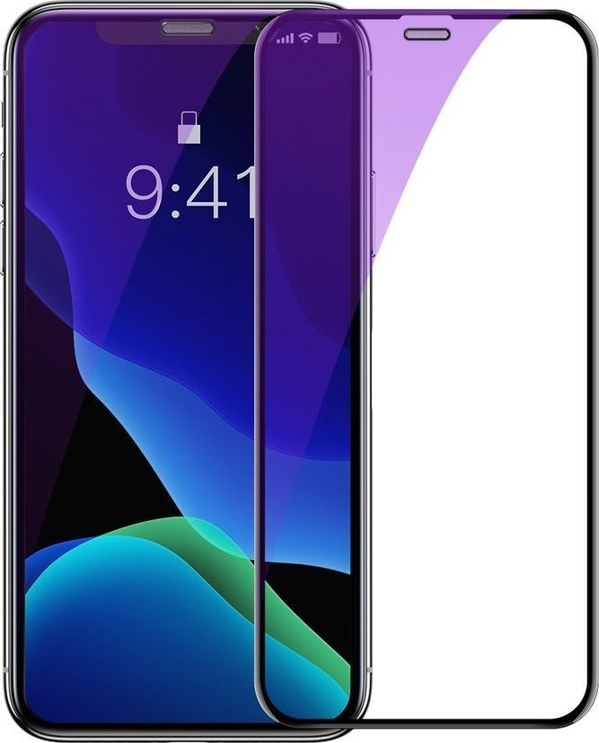 Baseus Baseus 2x szkło na cały ekran Full Screen 0.3mm 9H Anti-bluelight iPhone 11 Pro Max / iPhone XS Max + pozycjoner czarny (SGAPIPH65-WE01) uniwersalny 1
