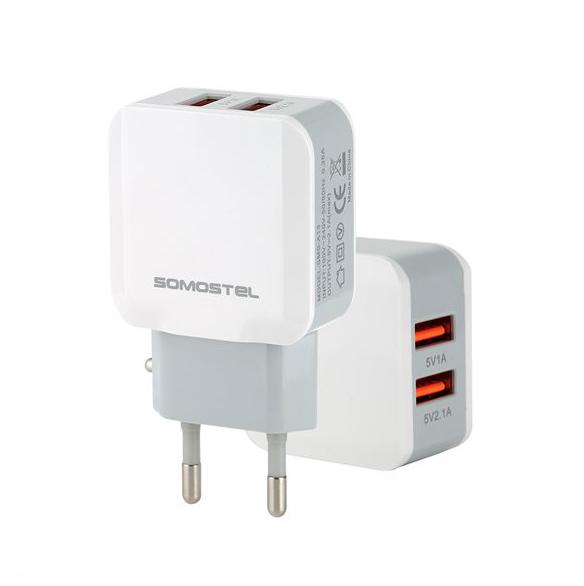 Ładowarka Somostel 2x wyjścia USB-A i kabel USB-C 1