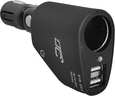 Ładowarka LTC Adapter CAR FIRE 2 gniazda USB 3.1A, CZARNY. 1