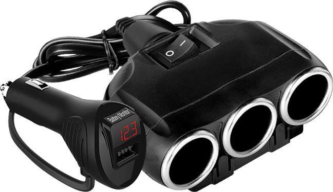 Ładowarka LTC LTC Adapter CAR FIRE 3 gniazda + 1 gniazdo USB 3.1A, miernik nap. akumulatora. 1