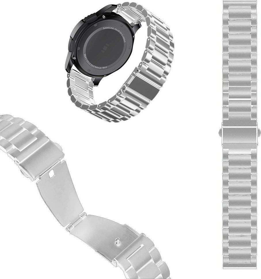 Pasek stalowy do Huawei Watch GT 2 46 - Silver uniwersalny 1