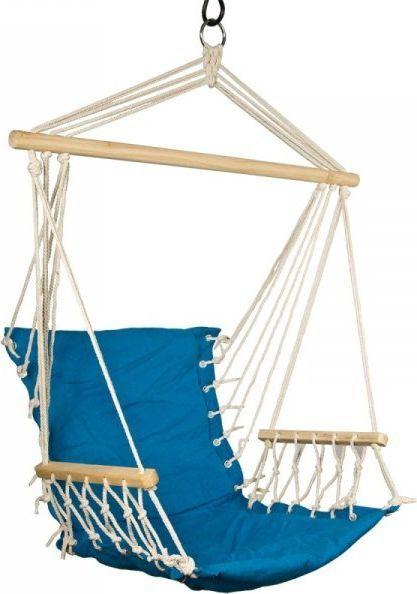 Royokamp  Hamak Fotel brazylijski 100x60 cm z wszytą poduszką i podłokietnikami niebieski 1