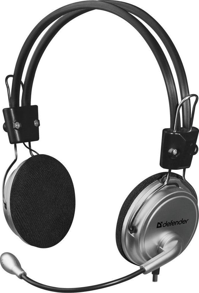 Słuchawki z mikrofonem Defender Słuchawki z mikrofonem Defender AURA 120 srebrno-czarne kabel 3m 1