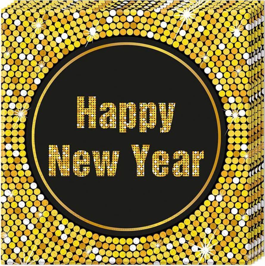 PROCOS Serwetki Retro Happy New Year - 33 cm - 20 szt. uniwersalny 1