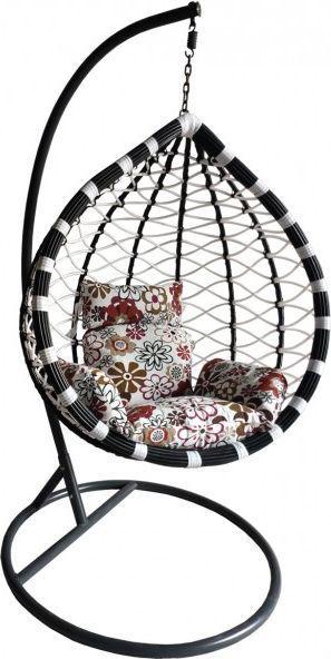 Saska Garden Huśtawka, fotel bujany kokon czarny/biały 1