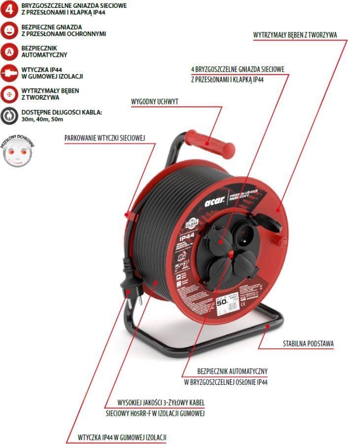 Acar Przedłużacz bębnowy Acar M01904 50m czarny 1