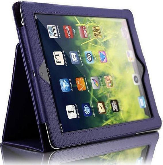 Etui do tabletu 4kom.pl Etui Stojak Apple iPad 9.7 2017 / 2018 Granatowe + Szkło hartowane uniwersalny 1