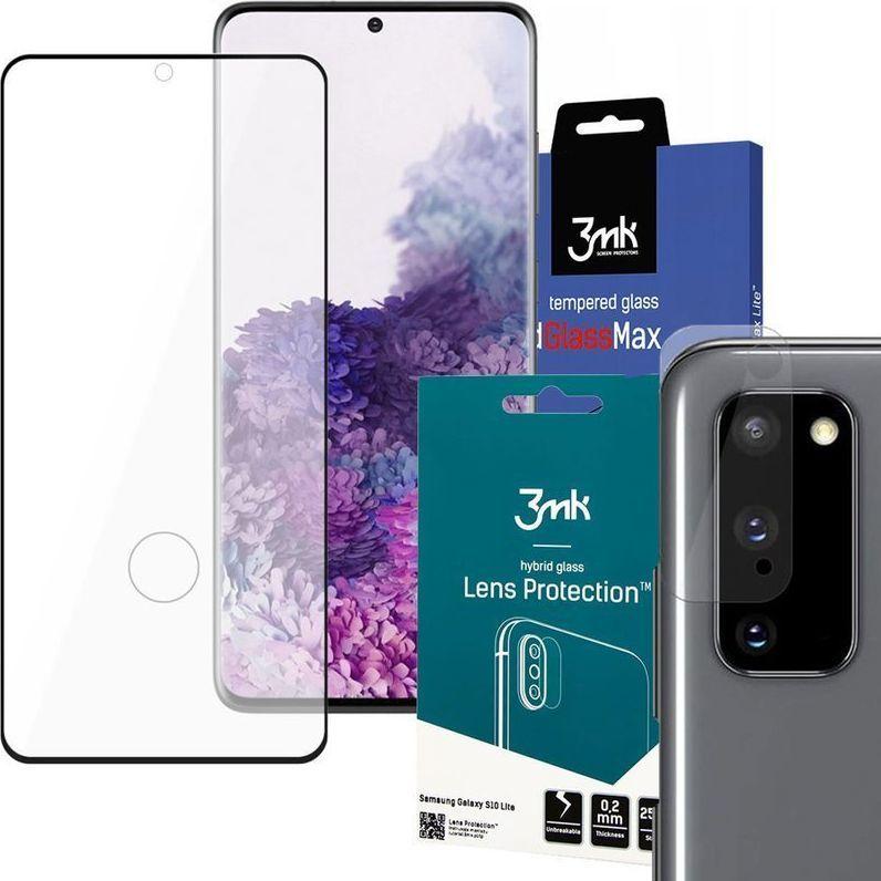 3MK Szkło 3mk HardGlass Max czytnik linii do Samsung Galaxy S20 Black + Szkło 3mk na obiektyw uniwersalny 1