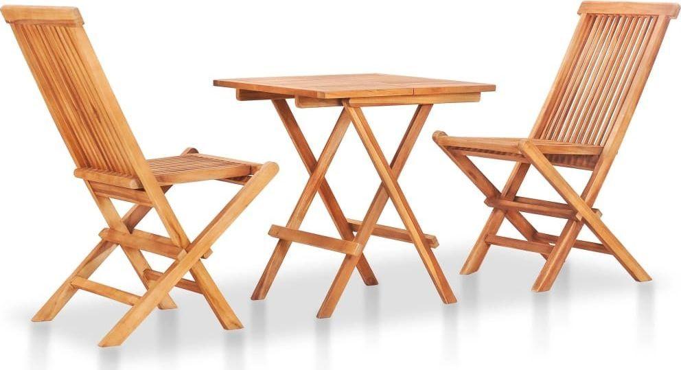 vidaXL 3 częściowy składany zestaw mebli bistro, lite drewno tekowe (48997) 1