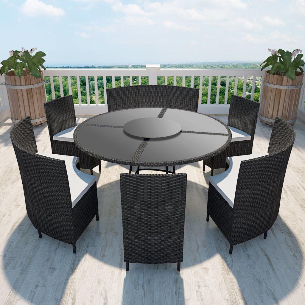 vidaXL 7 częściowy zestaw mebli ogrodowych z poduszkami, rattan PE, czarny (43098) 1