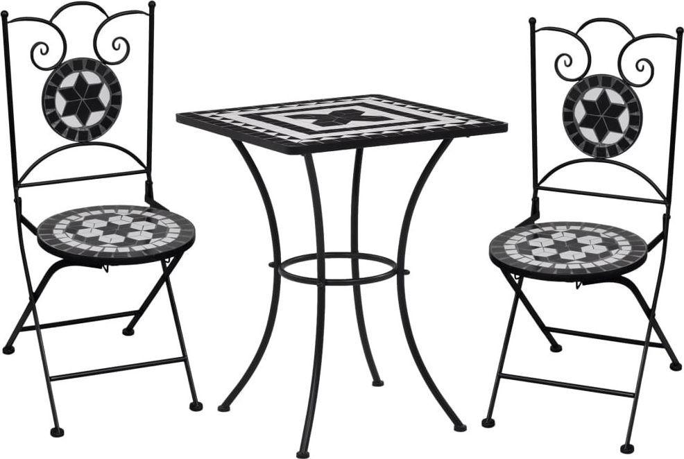 vidaXL 3 częściowy zestaw mebli bistro z mozaiką czarno-białą, ceramika (279414) 1