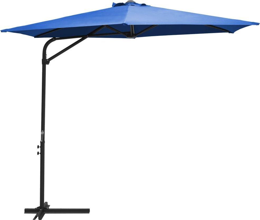 vidaXL Parasol ogrodowy na stalowym słupku, 300 cm, błękit lazur 1