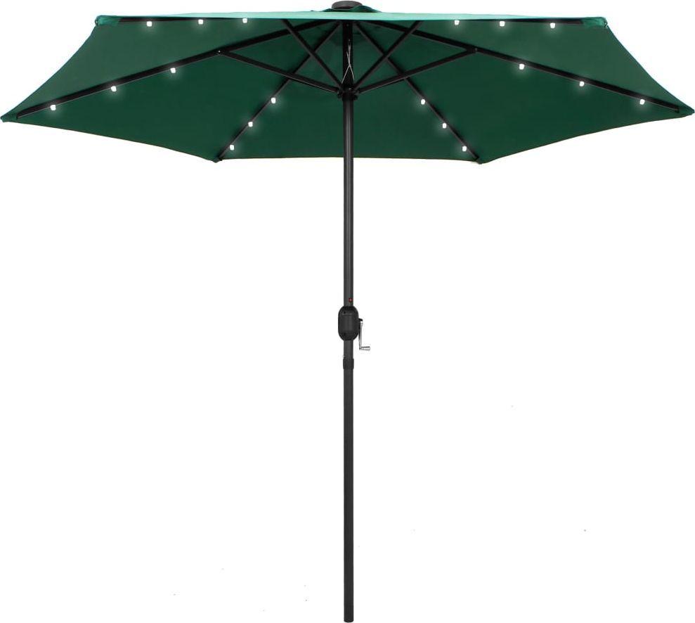 vidaXL Parasol ogrodowy z LED i aluminiowym słupkiem, 270 cm, zielony 1