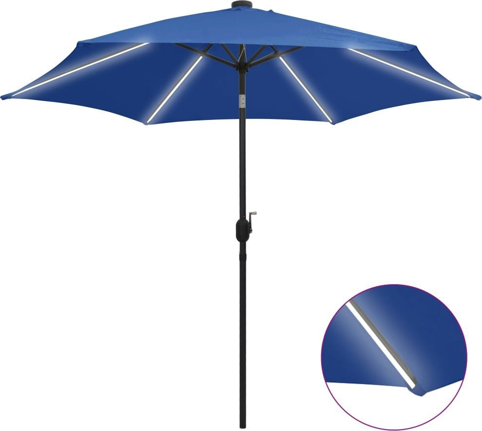 vidaXL Parasol ogrodowy z LED i aluminiowym słupkiem, 300 cm, lazur 1