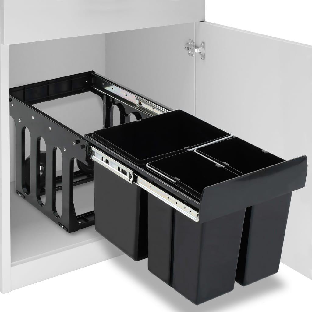 Kosz na śmieci vidaXL szafkowy nie dotyczy 48L czarny (51182) 1