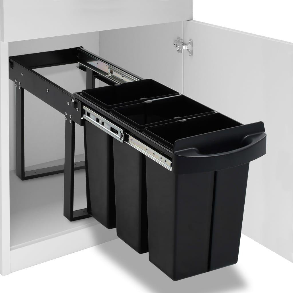 Kosz na śmieci vidaXL szafkowy czarny (51180) 1