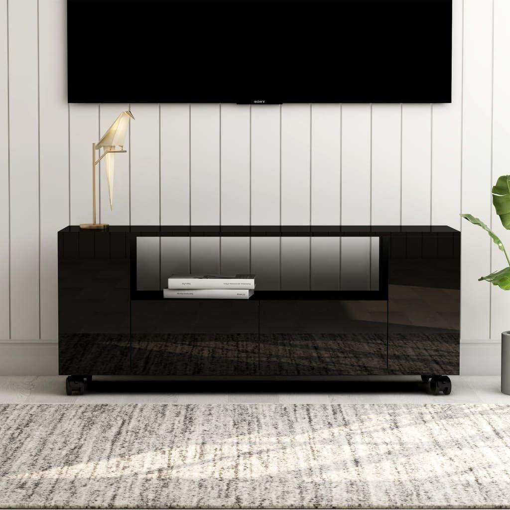 vidaXL VidaXL Szafka pod TV, wysoki połysk, czarna, 120x35x43cm, płyta wiórow 1