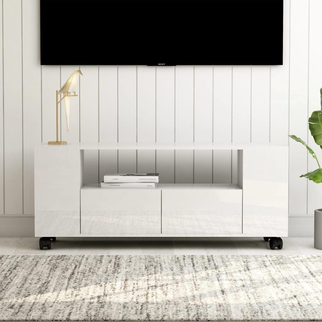 vidaXL VidaXL Szafka pod TV, wysoki połysk, biała, 120x35x43cm, płyta wiórowa 1
