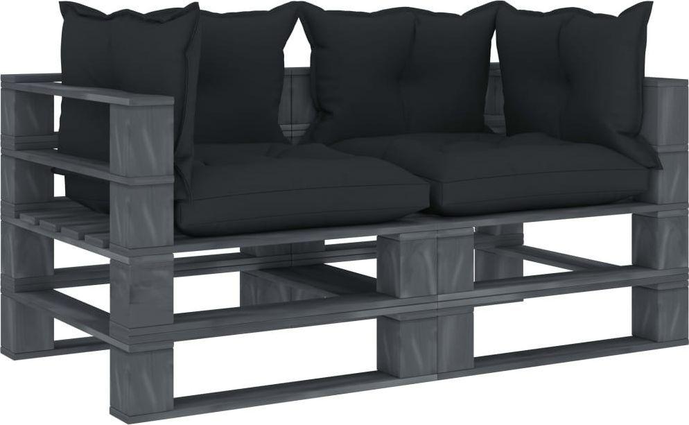 vidaXL VidaXL Ogrodowa sofa 2-osobowa z palet, antracytowe poduszki, drewno 1
