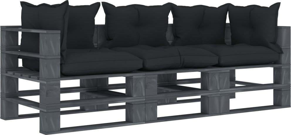 vidaXL VidaXL Ogrodowa sofa 3-osobowa z palet, antracytowe poduszki, drewno 1