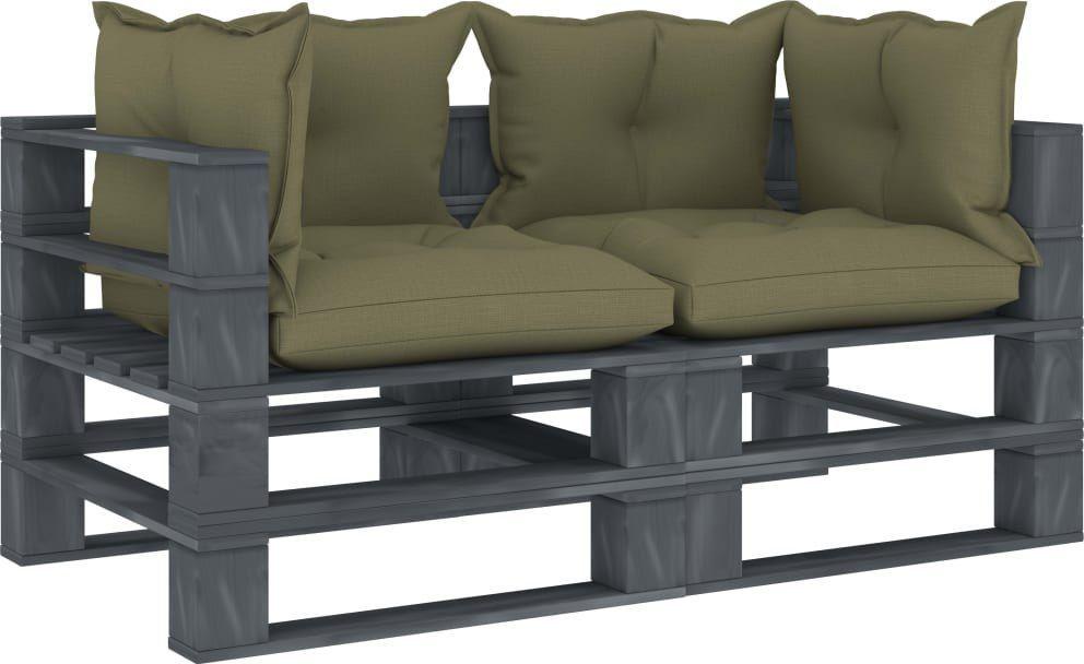 vidaXL VidaXL Ogrodowa sofa 2-osobowa z palet, z beżowymi poduszkami 1