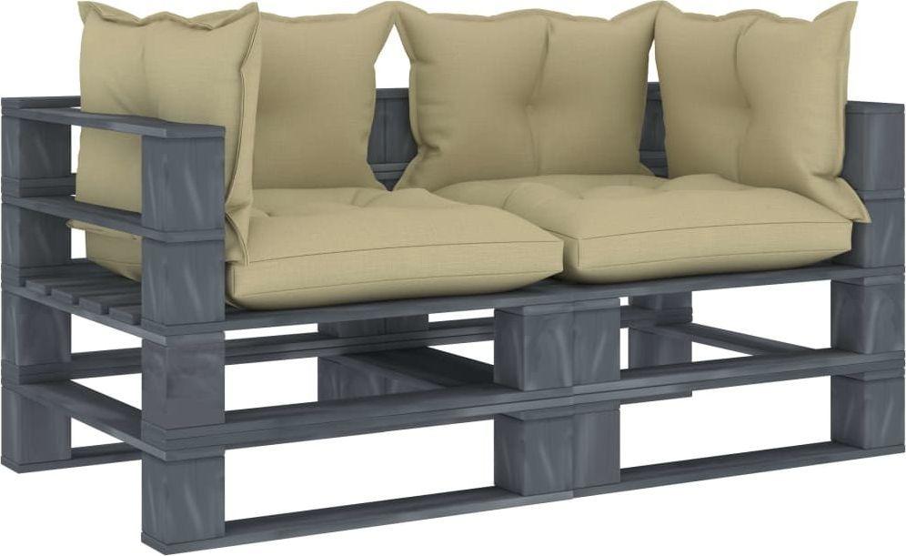 vidaXL VidaXL Ogrodowa sofa 2-osobowa z palet, z kremowymi poduszkami, drewno 1