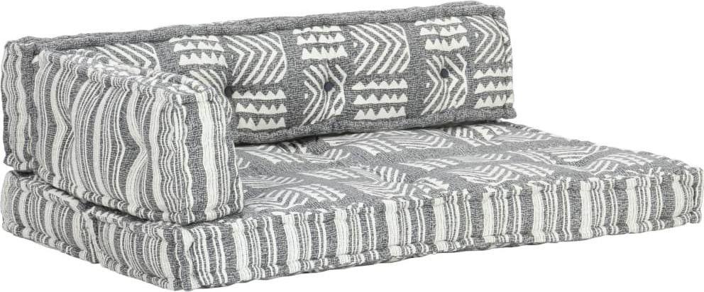 vidaXL VidaXL Sofa z poduszek na paletę, tkanina, szary patchwork 1