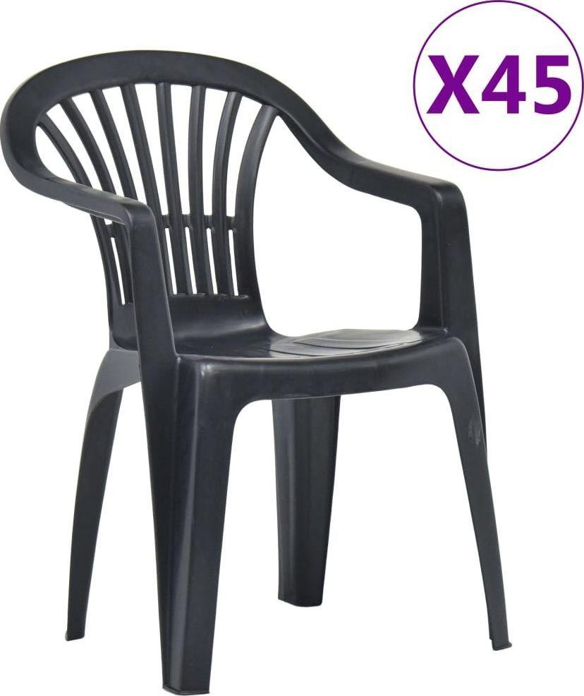 vidaXL krzesła ogrodowe układane w stos, 45 sztuk, plastikowe, antracyt (48820) 1