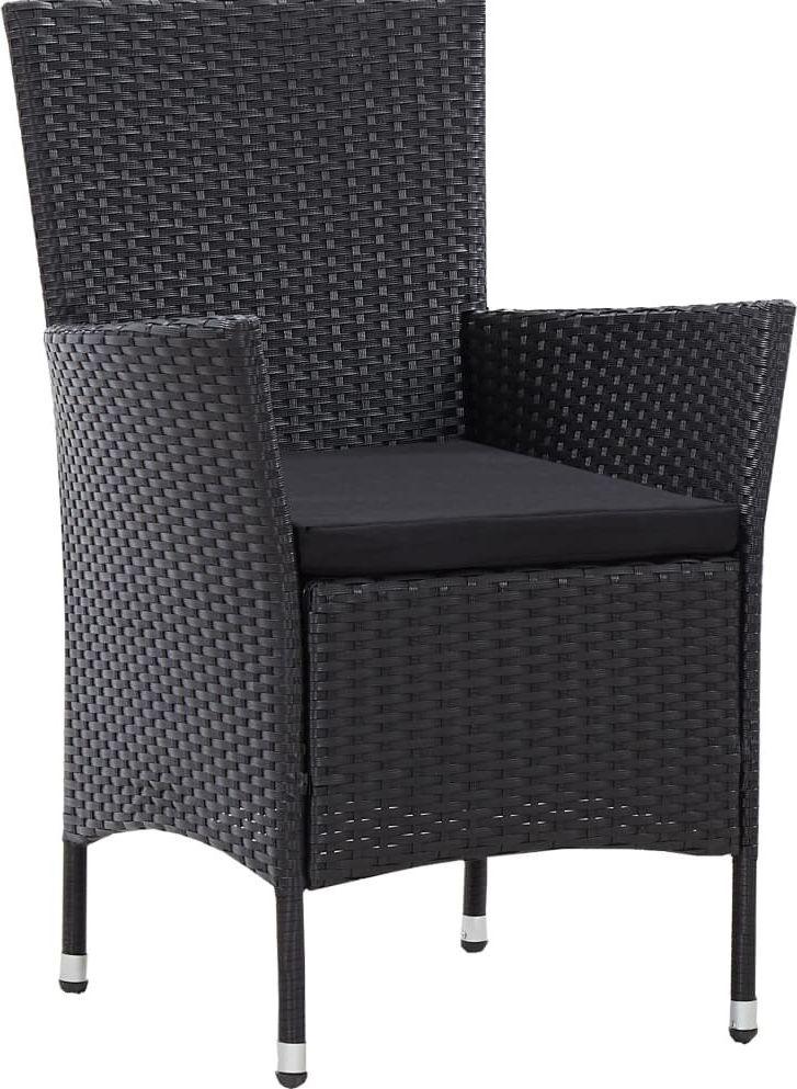vidaXL krzesła ogrodowe, 2 sztuki, czarne, polirattanowe (45979) 1