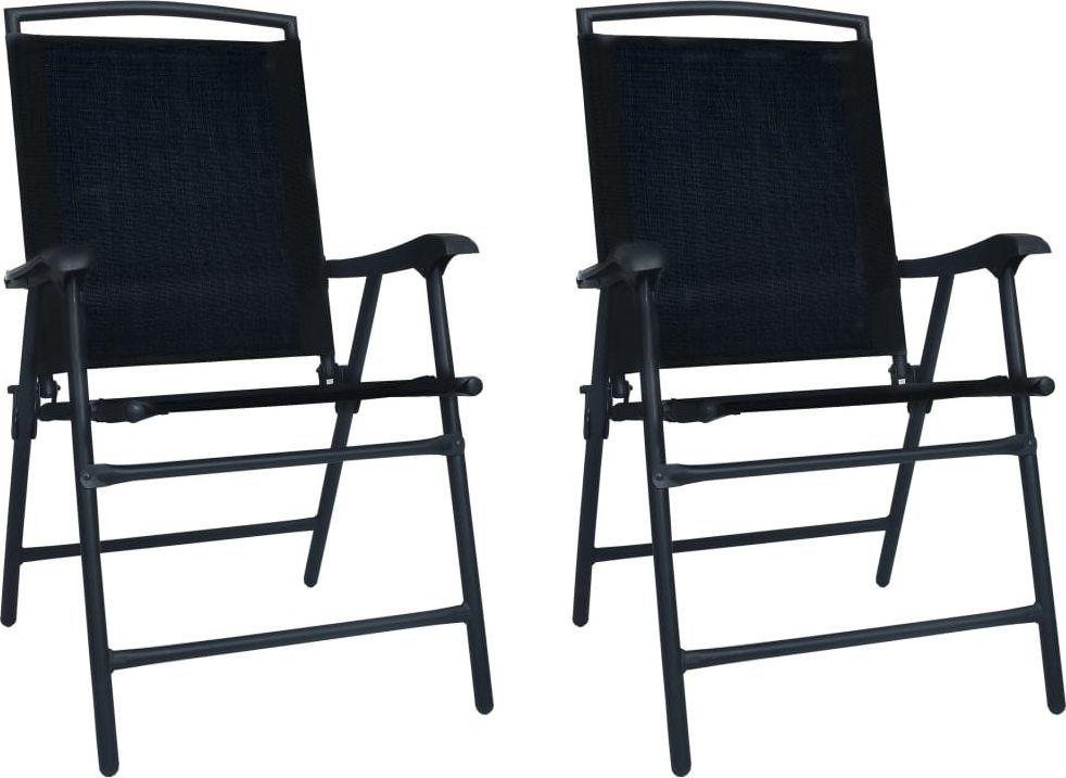 vidaXL składane krzesła ogrodowe, 2 sztuki, tworzywo textilene, czarne (47923) 1