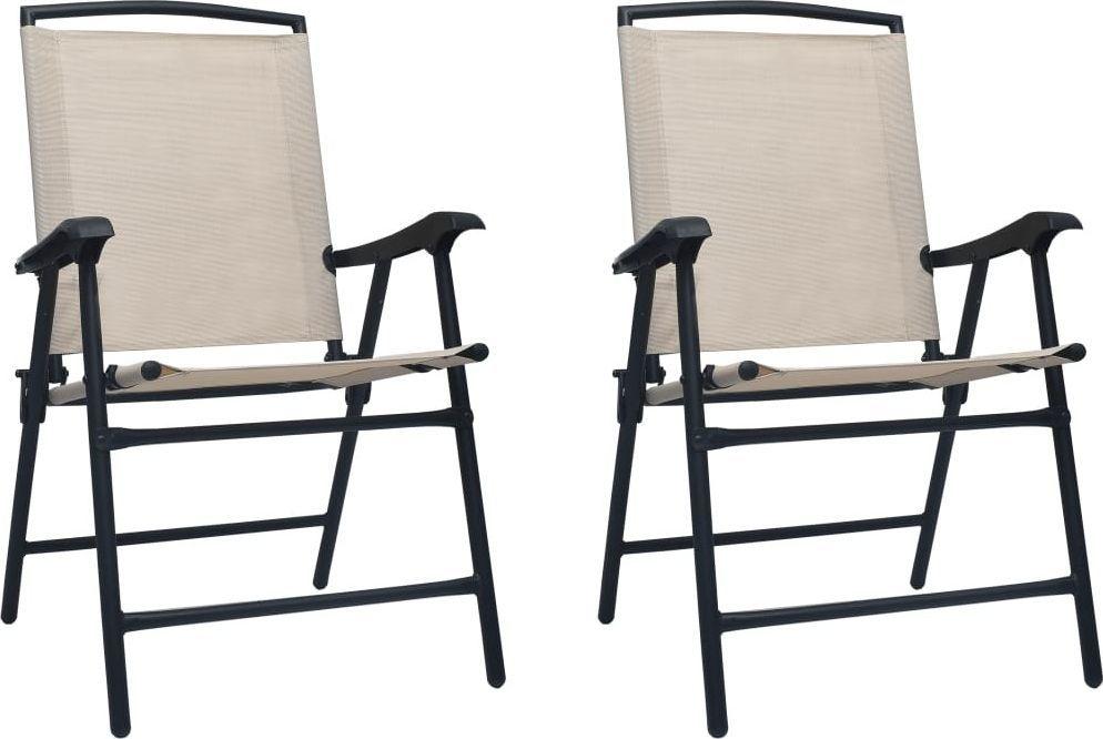vidaXL Krzesła ogrodowe składane tworzywo textilene kremowe 2szt.  1