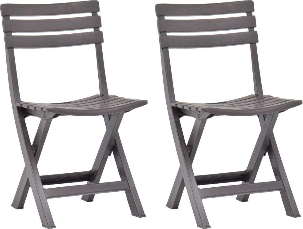 vidaXL składane krzesła ogrodowe, 2 sztuki, plastikowe, mokka (48788) 1