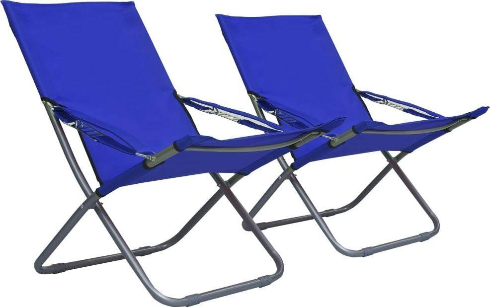 vidaXL składane krzesła plażowe, 2 sztuki, tkanina, niebieskie (47902) 1