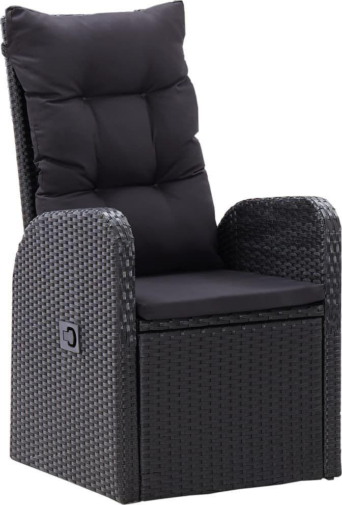 vidaXL VidaXL Rozkładane krzesła z poduszkami, 2 szt., polirattan, czarne 1