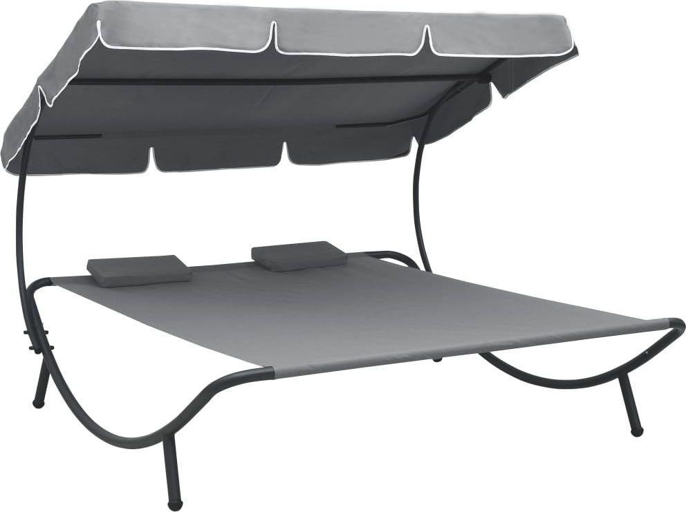 vidaXL leżak ogrodowy z baldachimem i poduszkami, szary (48070) 1