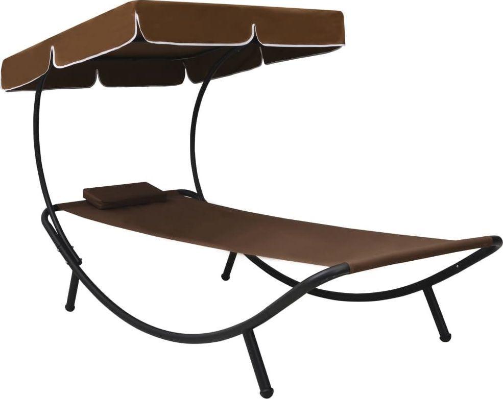 vidaXL leżak ogrodowy z baldachimem i poduszką, brązowy (48078) 1