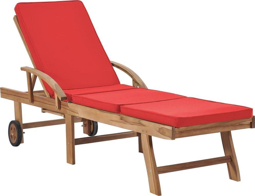 vidaXL leżak z poduszką, lite drewno tekowe, czerwony (48026) 1